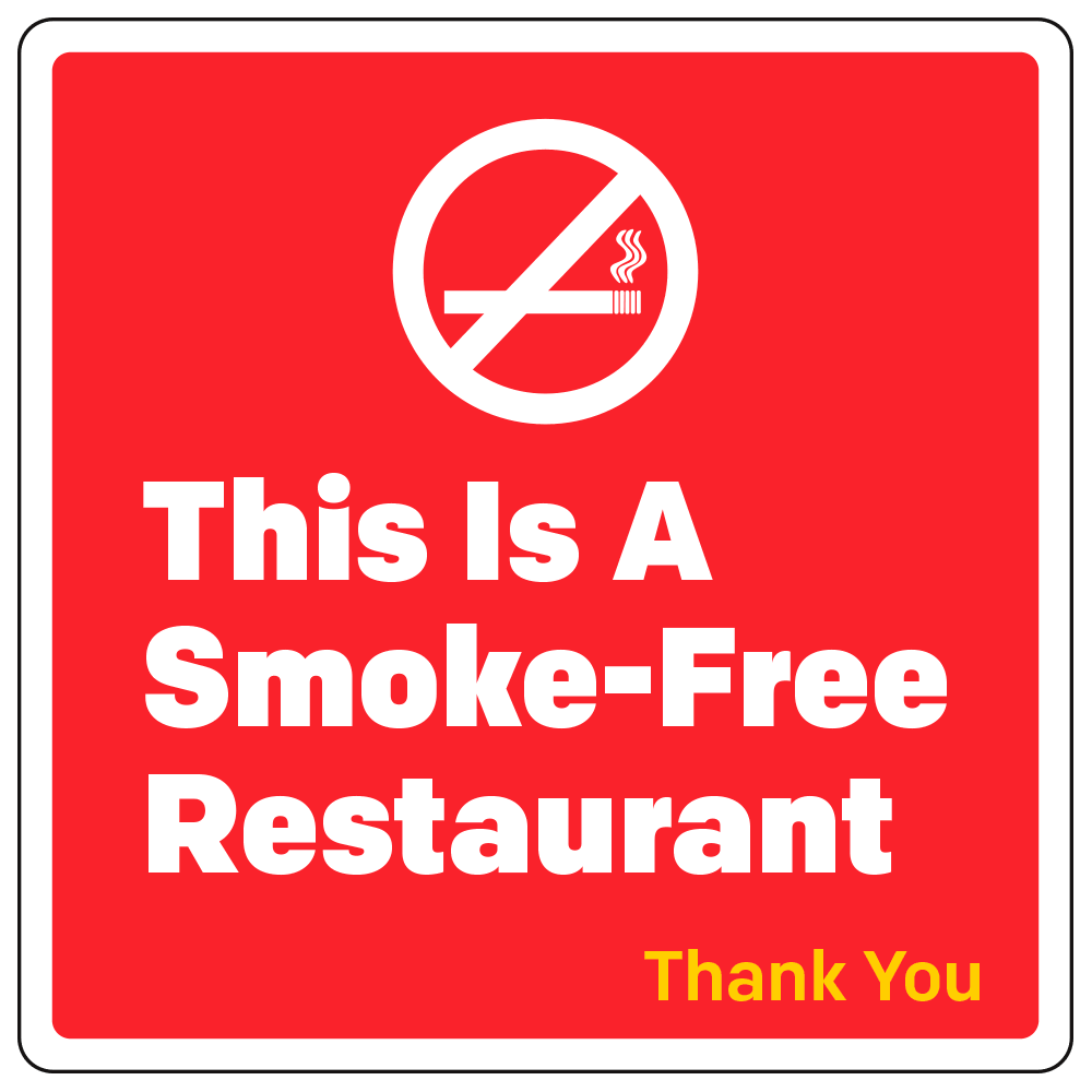 SMOKE-FREE RESTAURANT - OPERATIONAL DECAL <BR> 4 in. x 4 in.