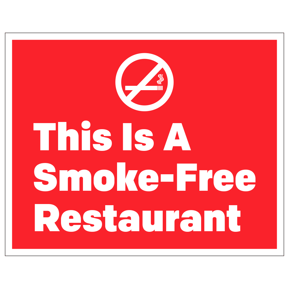 SMOKE-FREE RESTAURANT - OPERATIONAL DECAL <BR> 10 in. x 8 in.