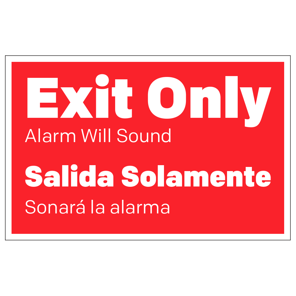EXIT, ALARM WILL SOUND - DECAL <BR> 8.5 in. x 5.5 in.
