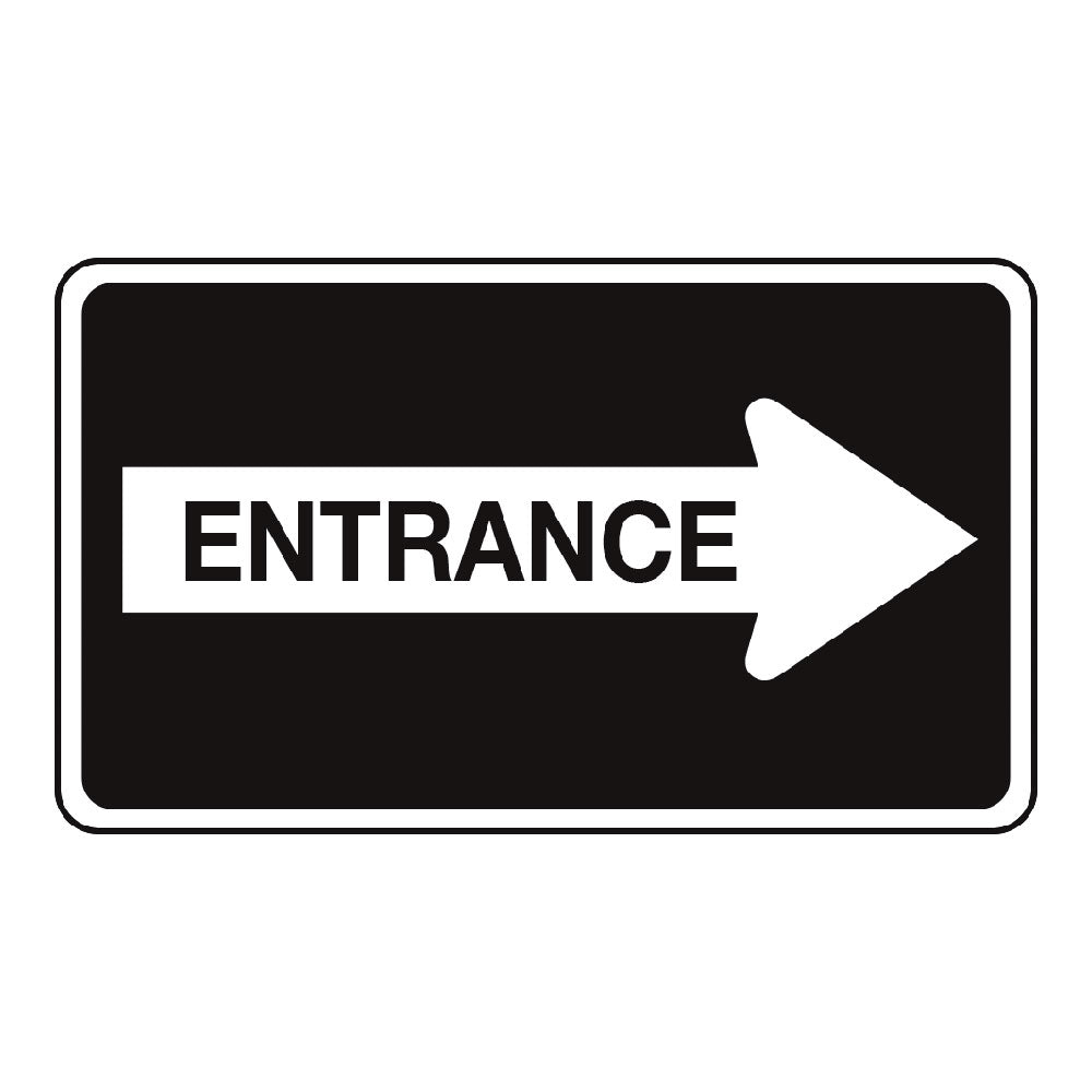 ENTRANCE, RIGHT ARROW - SIGN <BR> 20 in. x 12 in.