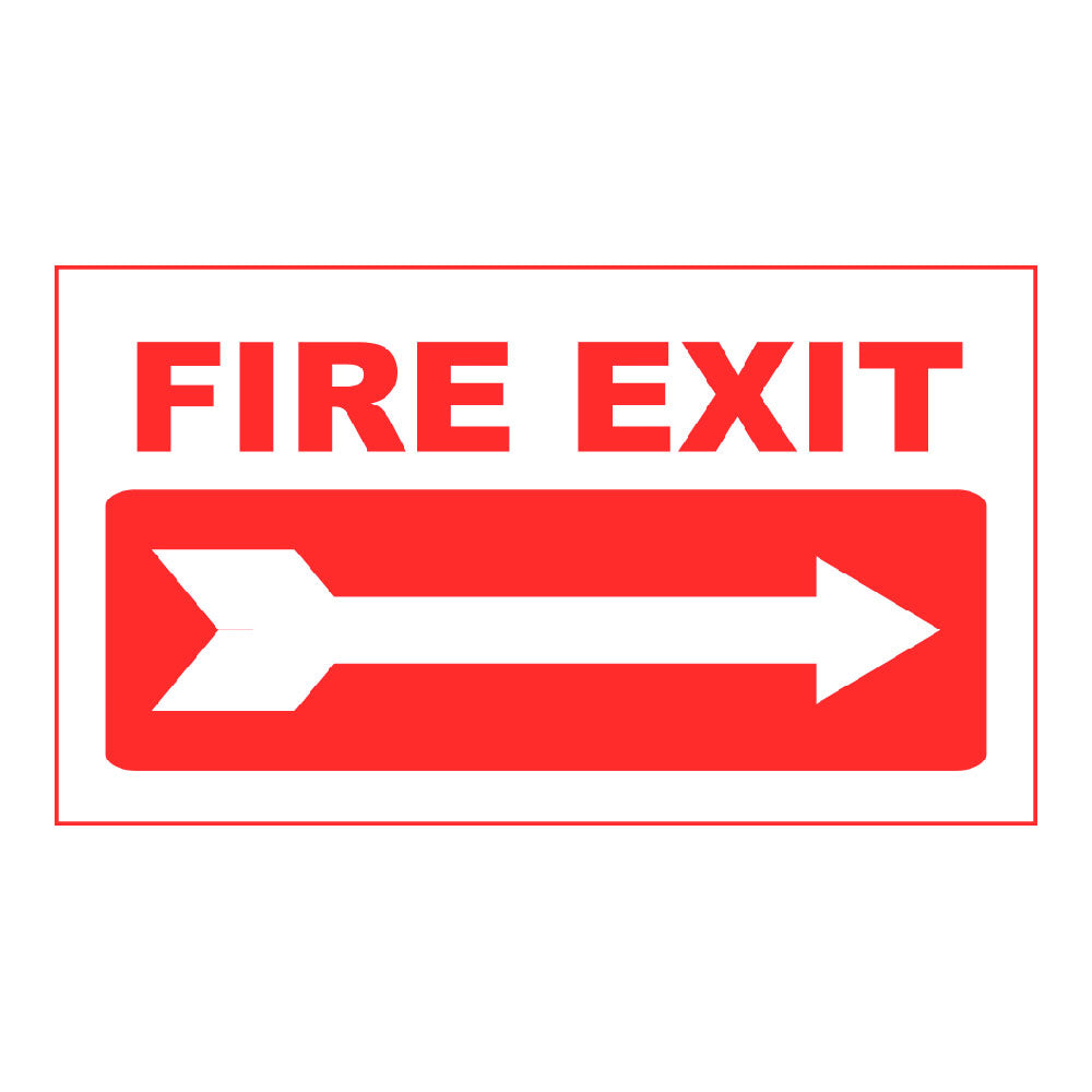 FIRE EXIT RIGHT ARROW - SIGN <BR> 20 in. x 12 in.