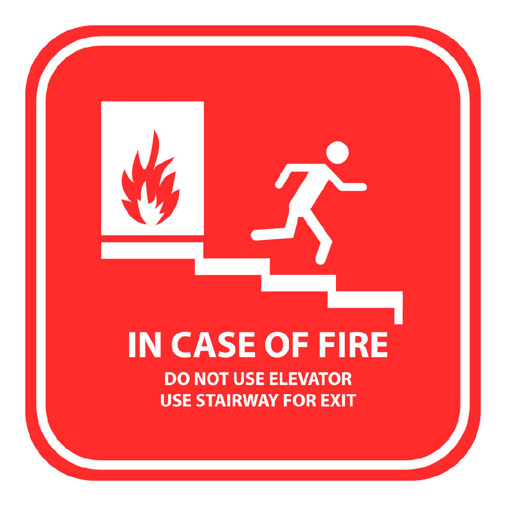 IN CASE OF FIRE - SIGN <BR> 10 in. x 10 in.