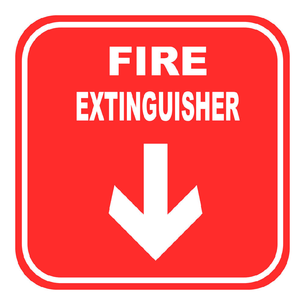FIRE EXTINGUISHER DOWN ARROW, 10 in. x 10 in.