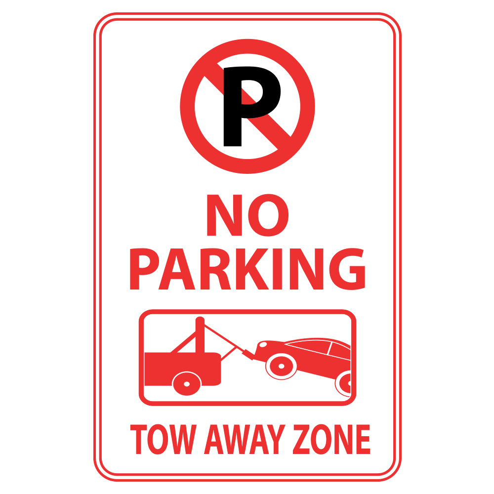 NO PARKING ANYTIME TOW AWAY ZONE (LOGOS) - SIGN <BR> 12 in. x 18 in.