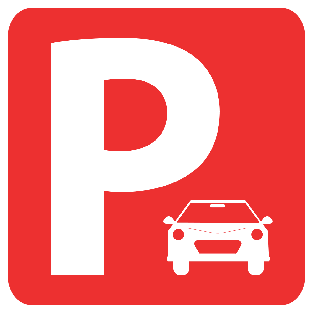 PARKING SIGN (RED) <BR>10 in. x 10 in.