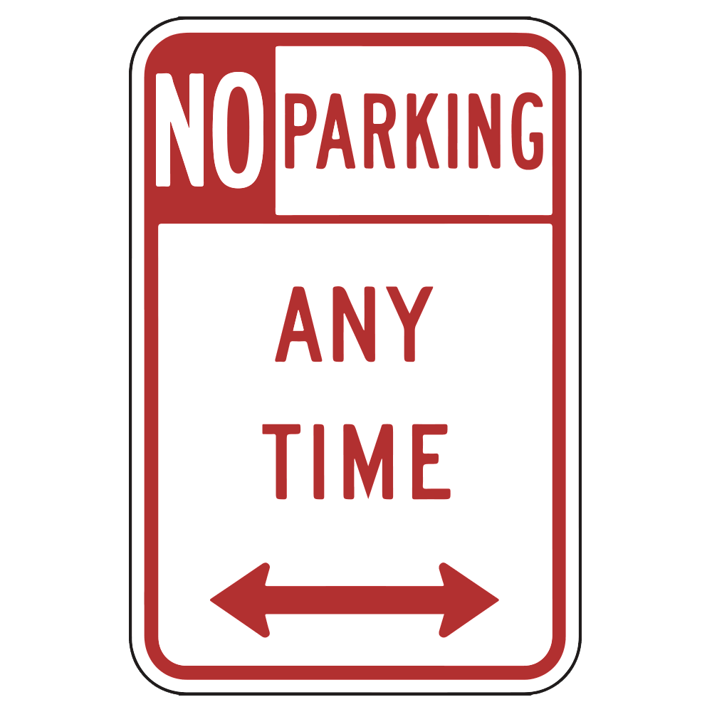 NO PARKING ANYTIME WITH ARROWS - SIGN <BR> 12 in. x 18 in.