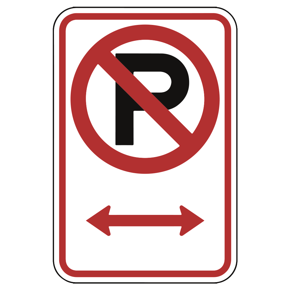 NO PARKING WITH ARROWS (LOGO) - SIGN <BR> 12 in. x 18 in.