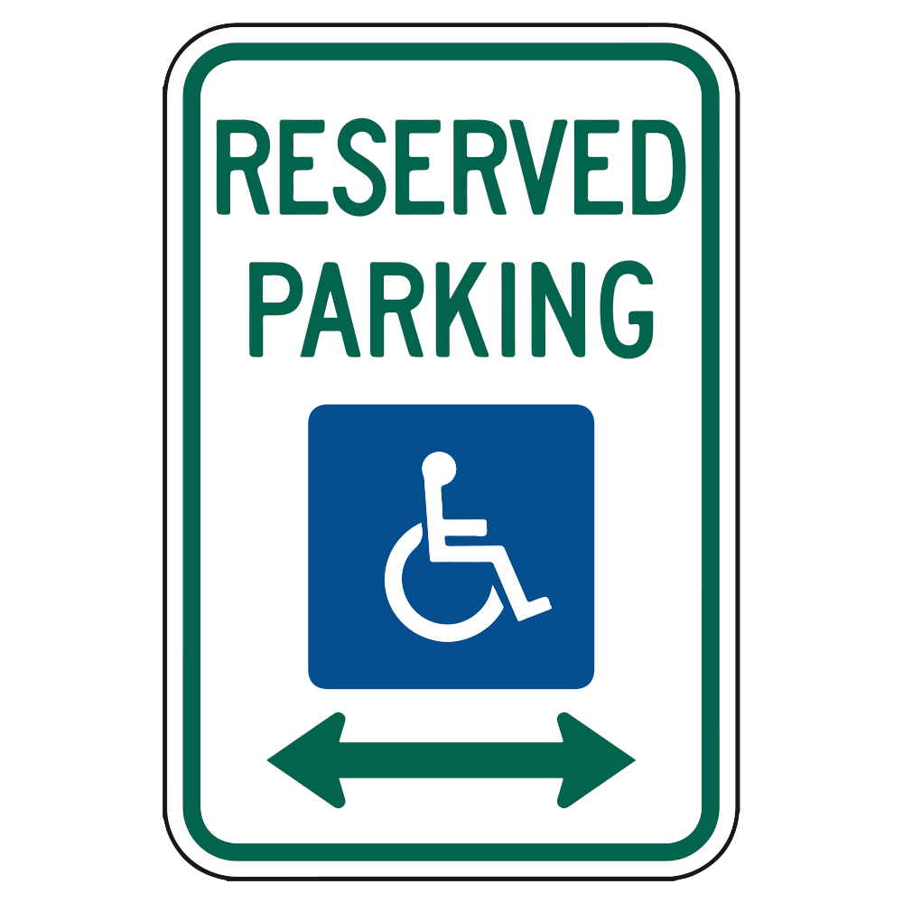 RESERVED PARKING SIGN (HANDICAP LEFT AND RIGHT ARROWS) - SIGN <BR> 12 in. x 18 in.