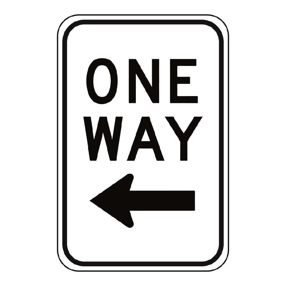 ONE WAY LEFT ARROW - SIGN <BR> 12 in. x 18 in.