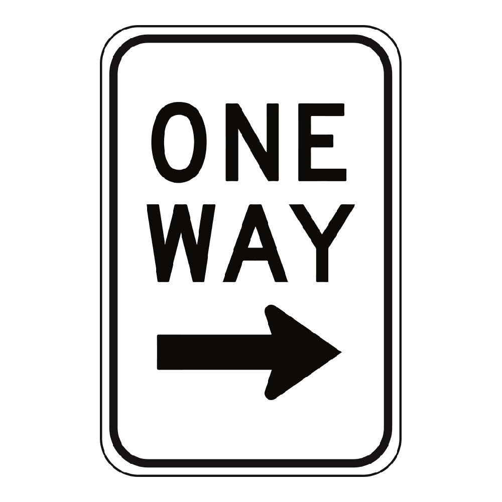 ONE WAY RIGHT ARROW - SIGN <BR> 12 in. x 18 in.