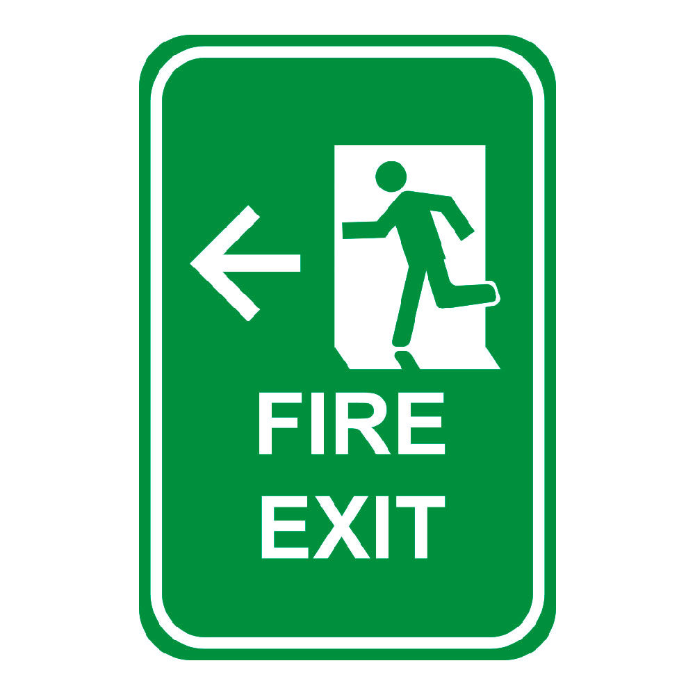 FIRE EXIT LEFT ARROW - SIGN <BR> 12 in. x 18 in.