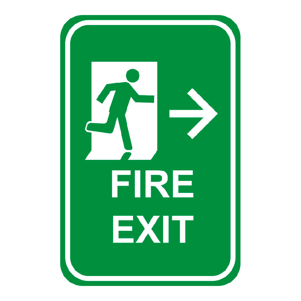 FIRE EXIT RIGHT ARROW - SIGN <BR> 12 in. x 18 in.