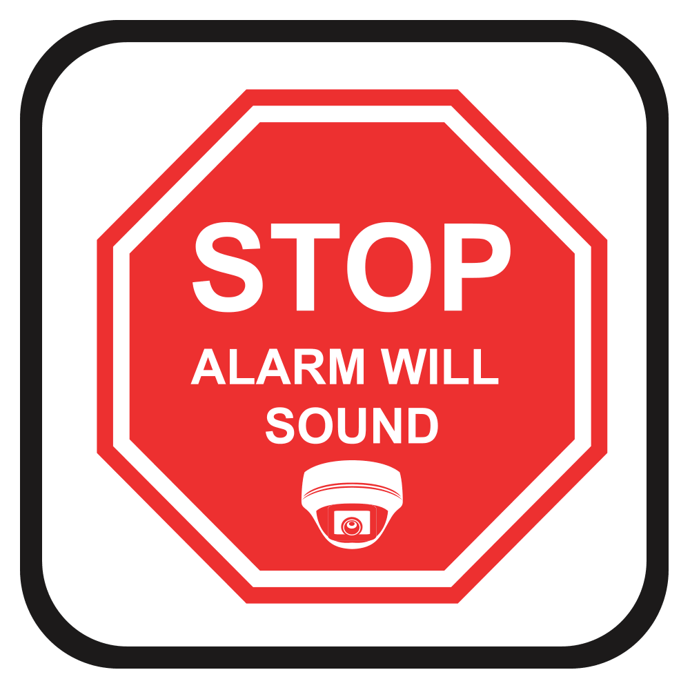 STOP ALARM WITH SOUND - SIGN <BR> 10 in. x 10 in.