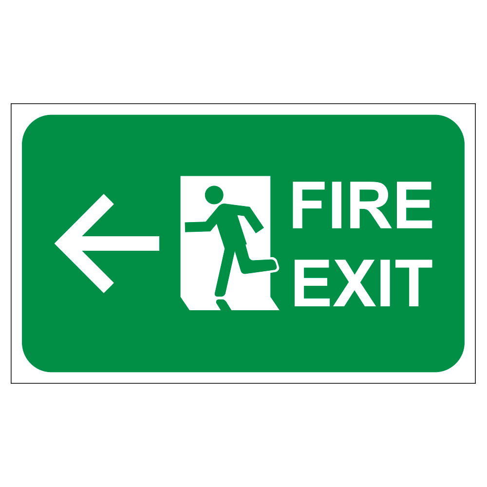 FIRE EXIT LEFT ARROW - SIGN <BR> 20 in. x 12 in.