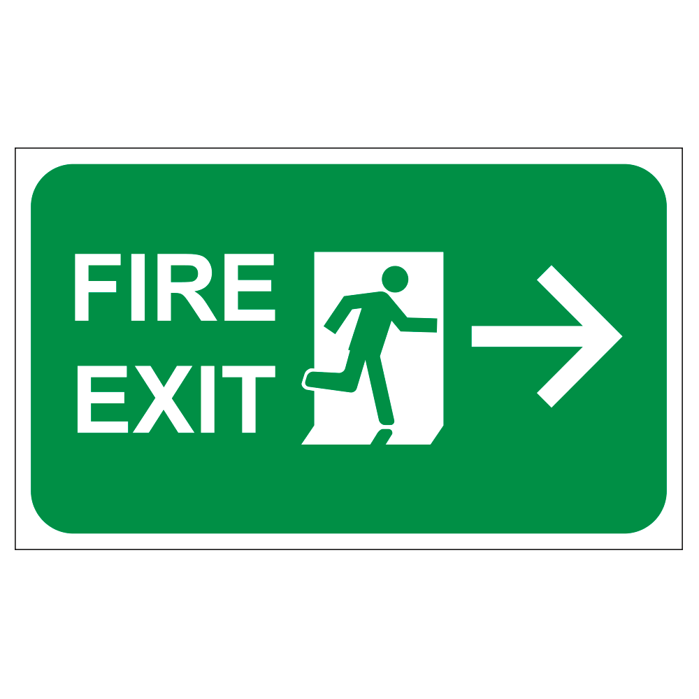 FIRE EXIT RIGHT ARROW, 20 in. x 12 in.