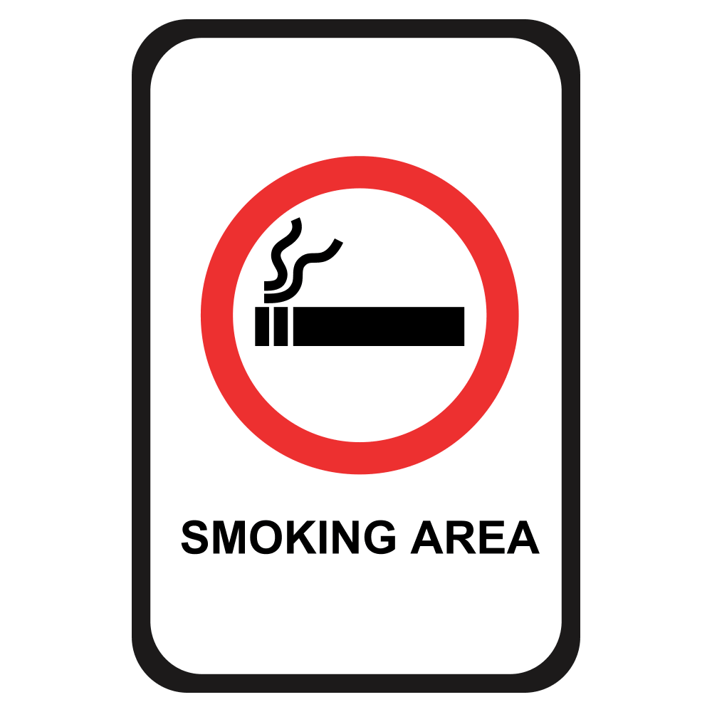 SMOKING AREA <BR> 12 in. x 18 in.