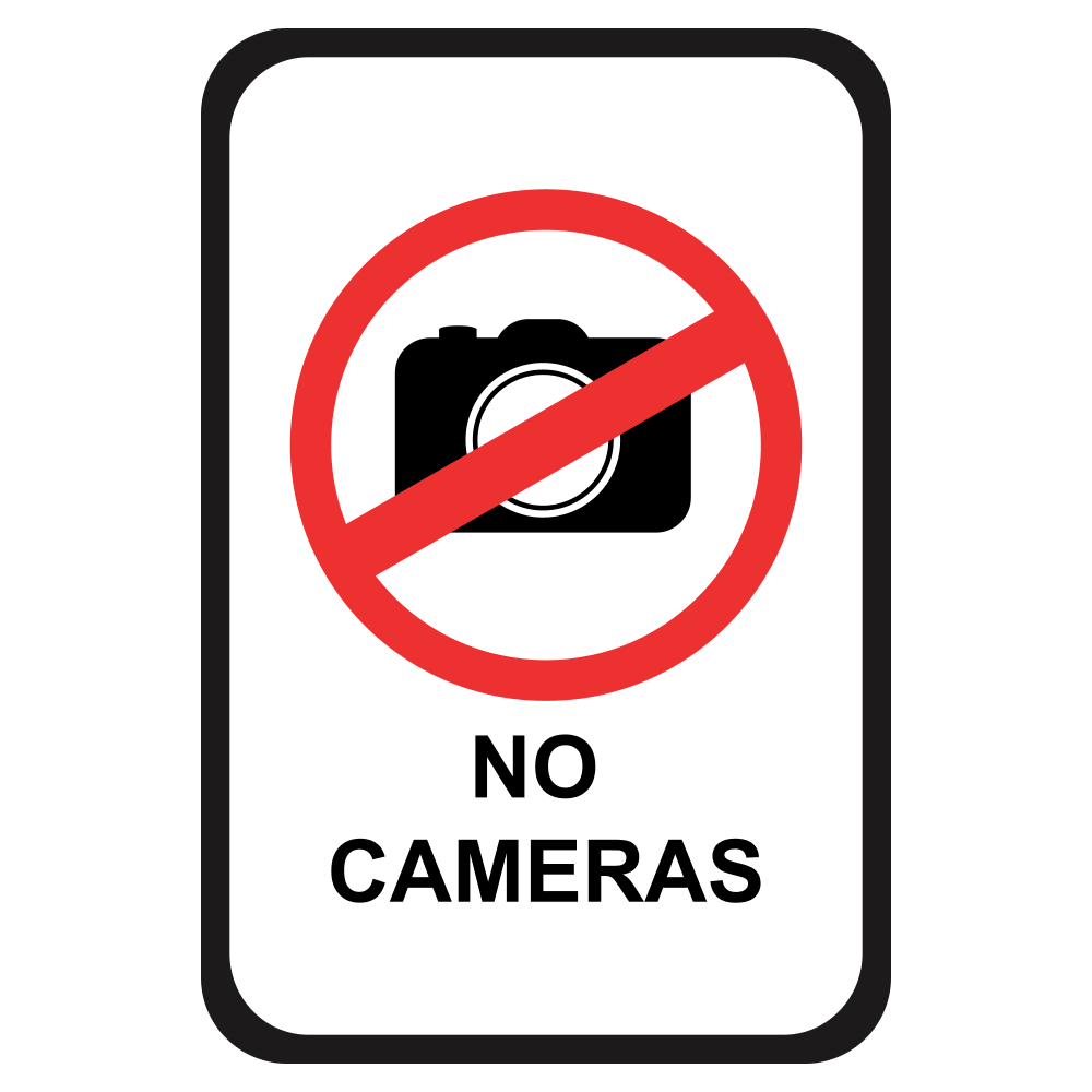NO CAMERAS - SIGN <BR> 12 in. x 18 in.