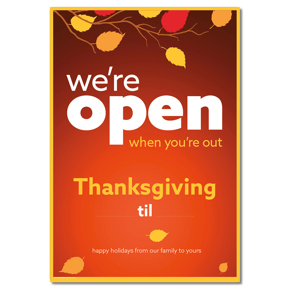 OPEN THANKSGIVING WITH SNIPES - DECAL OR POSTER<br>29 in. x 42 in.