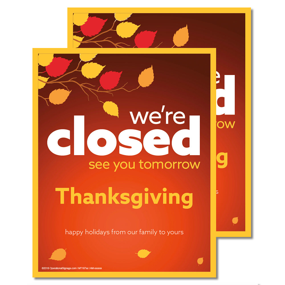CLOSED THANKSGIVING - DECAL <br>8 in. x 10 in.