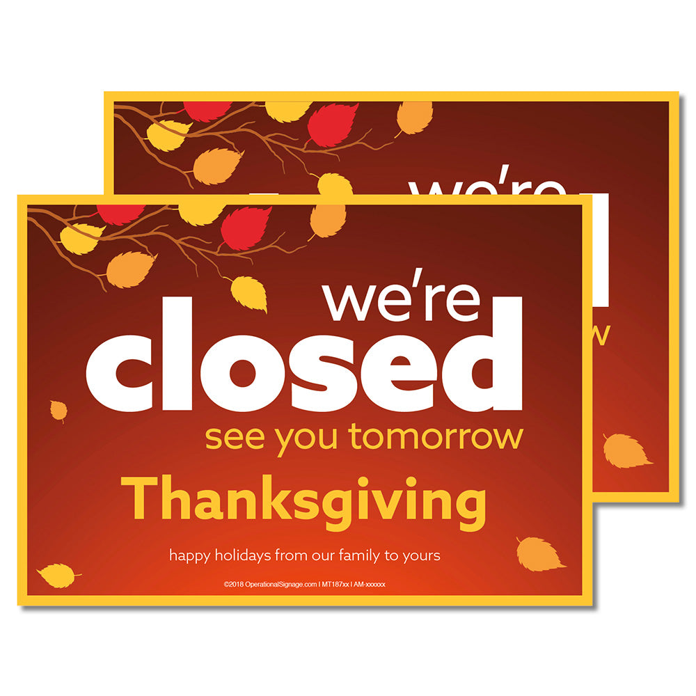 CLOSED THANKSGIVING - DECAL <br>7 in. x 5 in.