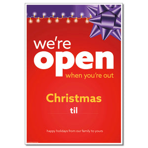 OPEN CHRISTMAS WITH SNIPES - DECAL OR POSTER <br>29 in. x 42 in.