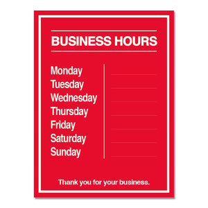 Business Hours with Numbers Sheet - Decal - 9 In. X 12 In.