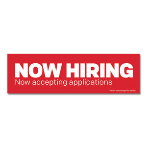 "Now Hiring - Banner - 10 Ft. X 3 Ft.  <Font Color=""Red""> Other Colors Available </Font>"