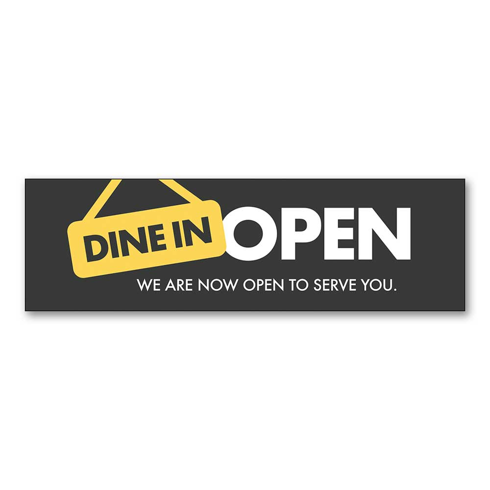 Dine In Open - Banner - 10 Ft. X 3 Ft.