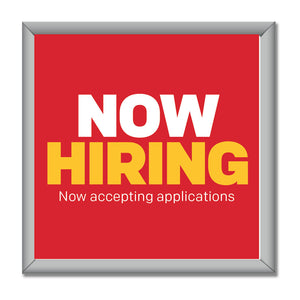 "Now Hiring- Mini Billboard Insert - 4 Ft. X 4 Ft.  <Font Color=""Red""> Other Colors Available </Font>"