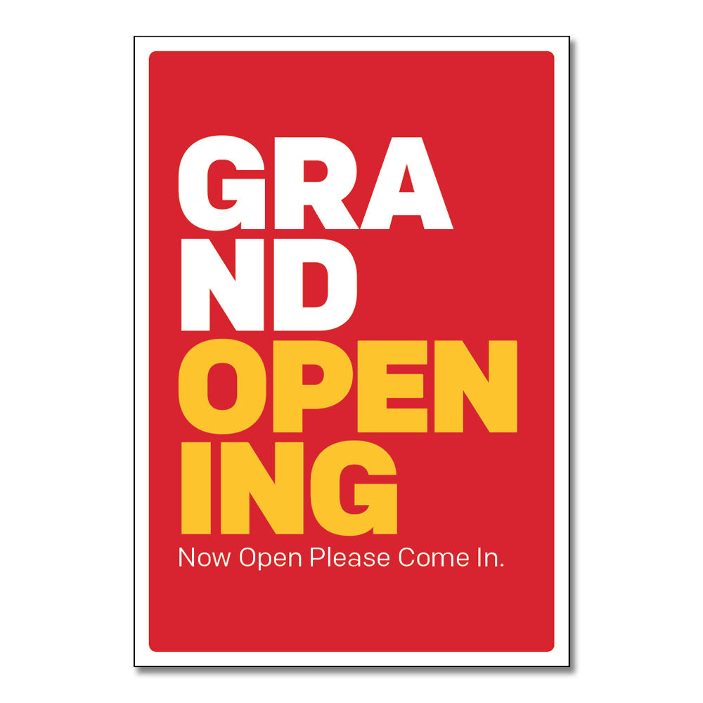 "GRAND OPENING - POSTER <br> 29 in. x 42 in. <br> <font color=""red""> Other colors available </font>"