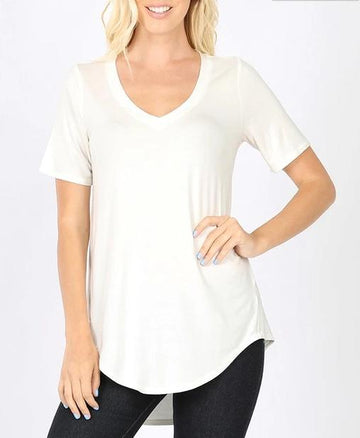 Luxe V-Neck Tee: Multiple Colors!!