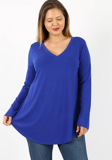 V-Neck Tee: Plus Size in Multiple Colors