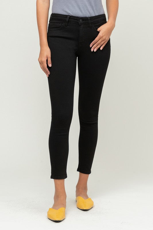 Black Mid-Rise Skinny Jeans by Flying Monkey!!