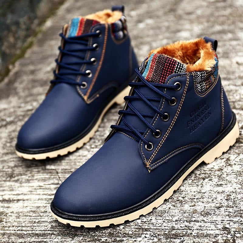 Men's Fashion Blue Boots with Fur Warm Lace