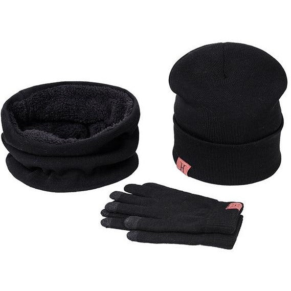 A Set Of Women's Winter Hat, Scarves, and Gloves