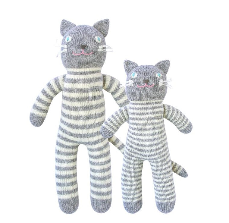 VILLAGE MERCANTILE Striped Knit Cat Stuffed Animal