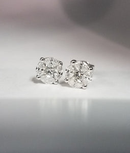 WALLACH JEWELRY DESIGNS 18k White Gold and Diamond Cluster Stud Earrings