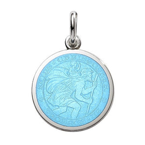PALMER JEWELERS Saint Christopher Medal in Turquoise Blue (Quarter Size)