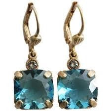 PALMER JEWELERS Catherine Popesco La Vie Square Swarovski Crystals Drop Earrings in Teal