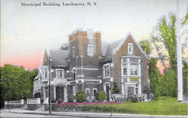CIRCLE 7 Custom Framed Larchmont Original Postcard 1920 Larchmont Municipal Building