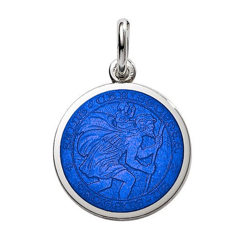 PALMER JEWELERS Saint Christopher Medal in Royal Blue (Silver Dollar Size)