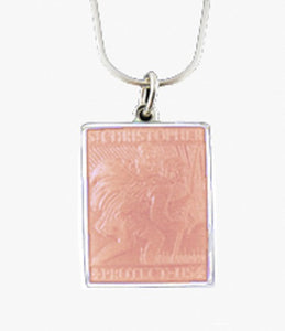PALMER JEWELERS Saint Christopher Medal in Pink (Small Size -- Rare!)