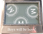 "PINK ON PALMER Mariposa ""Boys Will Be Boys!"" Beaded 4"" x 6"" Frame"