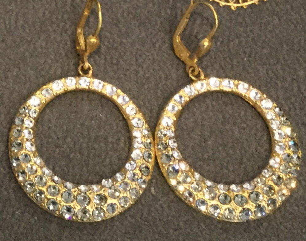 PALMER JEWELERS Catherine Popesco La Vie Gold Hoop Earrings with Ice Blue Stones