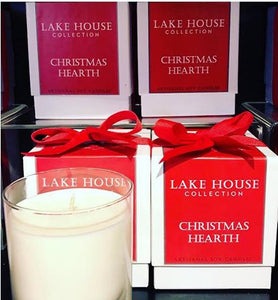 PINK ON PLAMER Lake House Collection Christmas Hearth Artisanal Candle