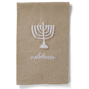 PINK ON PALMER Linen Hand Towel with French Knot Designs, Hanukkah