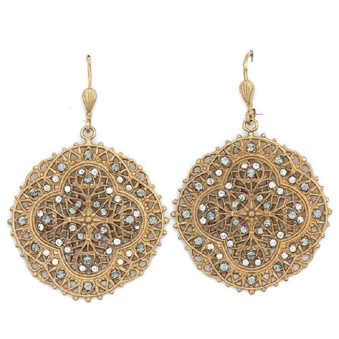 PALMER JEWELERS Catherine Popesco La Vie Crystal and Gold Filigree Earrings