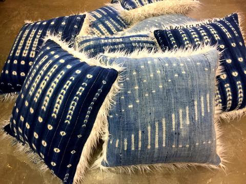 DECORATION DAY Nomad Indigo Pillows with Faux Fur