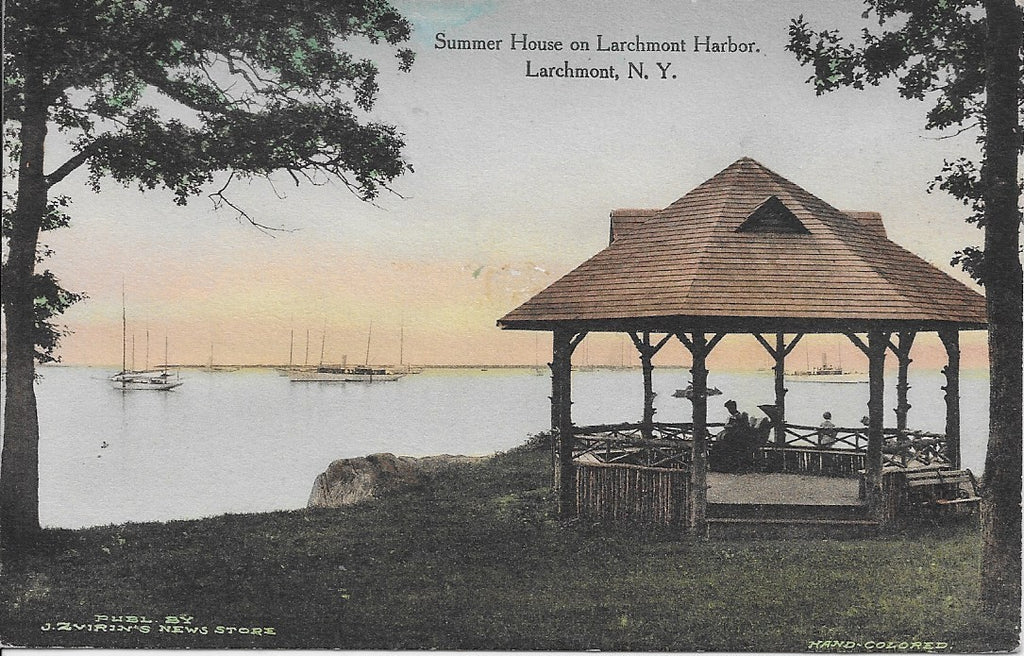 CIRCLE 7 Custom Framed Larchmont Original Postcard ca1910 The Gazebo Larchmont