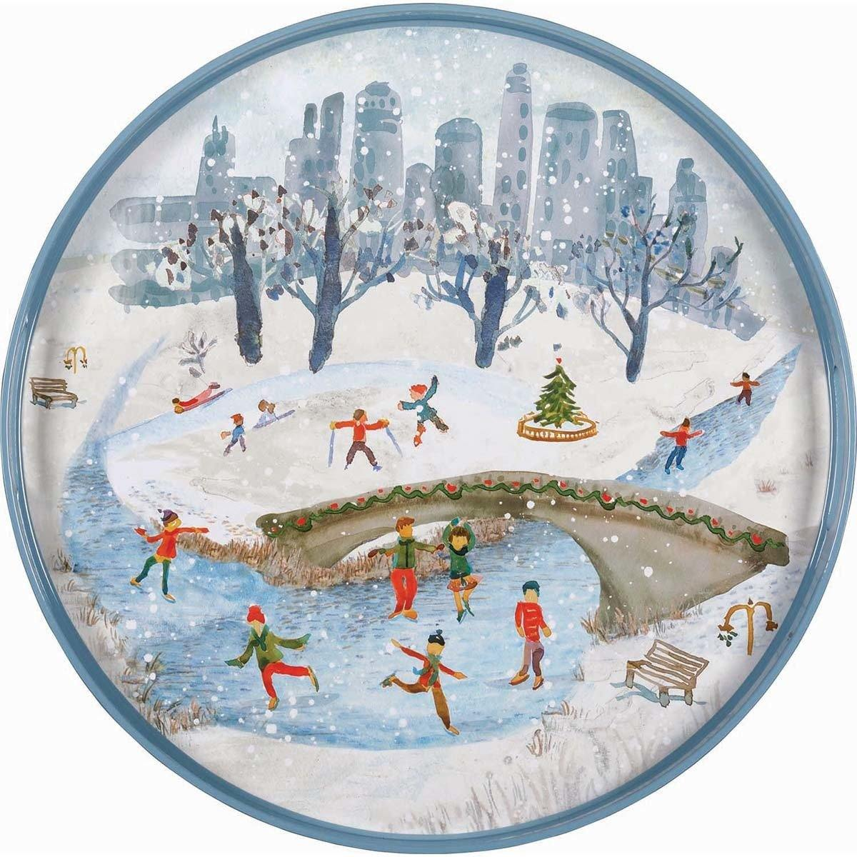 "PINK ON PALMER 18"" Diameter High Gloss Serving Tray – Central Park Skating"